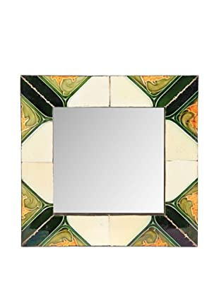 Jamie Young Tile Mirror, Ivory/Orange/Green Multi, 12