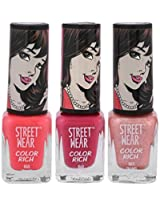 Street Wear Color Rich Nail Enamel, Pink Love Collection, 5ml
