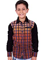 OK's Boys Adoring Dark Khaki Casual Cotton Shirt For Boys | OKS2521BRN