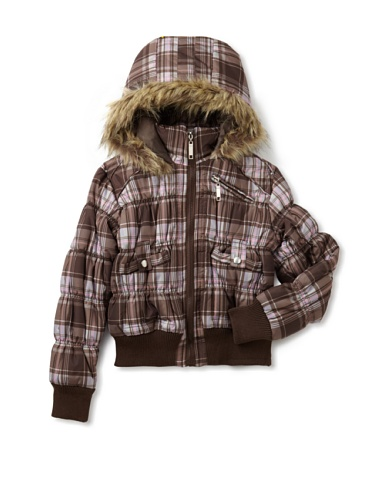 Coffee Shop Girls 7-16 Plaid Jacket With Faux Fur Trim (Brown/Fuchsia)