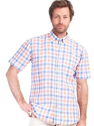 Cortefiel Camisa Sport Cuadros (Azul Claro / Naranja)