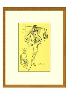 Vintage Women's Estorel Fashion Sketch c.1968