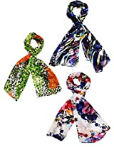 Diwali sale - Set of three trendy Stoles, scarf and dupatta multicolored stole for women- BUY SET SAVE SHIPPING