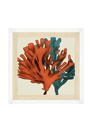 Orange & Teal Seaweed Crop Framed Print I