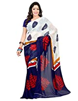 Admyrin White and Navy Blue Georgette Saree with Navy Blue Blouse