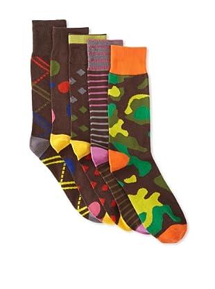 Florsheim Men's Casual Socks (5 Pairs) (Brown Combo)