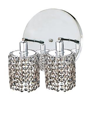 Elegant Lighting Mini Crystal Collection 2-Round Wall Sconce, Golden Teak