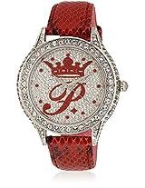 H Ph12987js/04B Red/Silver Analog Watch Paris Hilton