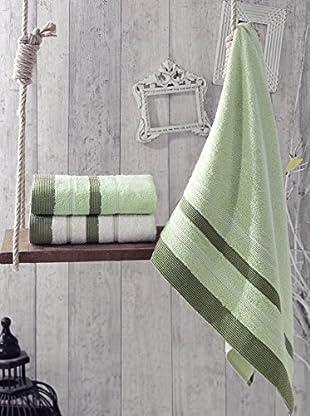 Homemania Handtuch 3er Set Flora grün 50 x 90 cm