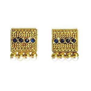Daamak Jewellery Gold Plated Blue Stone Earring