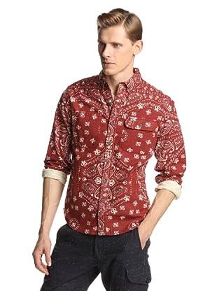 Burkman Bros Men's Printed Flannel Shirt (Red Bandana)
