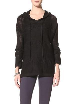 Suss Knitwear Women's Shellie Lace Knit Hoodie (Black)