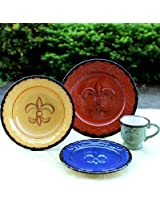 Tuscany Colorful Hand Painted Fleur De Lis, 16pc Dinneware Set, 82016 by ACK