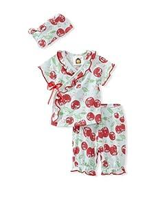 Barn Organics Baby Girl's Kimono Set with Hat (Cherry Pie)
