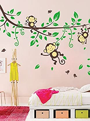 Ambiance Live Wandtattoo Monkeys on flowering tree mehrfarbig