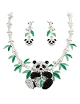 "Bamboo Panda Charm Pendant Fashionable Necklace & Earrings Set / Sparkling Rhinestone Crystal / Hand Painted / Rhodium Plated / Dangle Post Metal Bullet Earrings / 16"" Chain / Unique Gift And Souvenir"