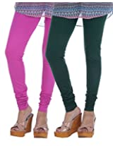 Nakhrali Women's Cotton Slim Fit Classic Churidar Leggings ( Pack of 2) (NKC-CH-CP03, Green, Pink, XX-Large)