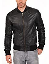 Iftekhar Men's Pure leather Jacket - Black - (Iftekhar08 - XXL)