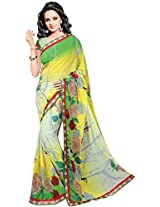 Shree Bahuchar Creation Women's Chiffon Saree(Skb5, Green and Creem)
