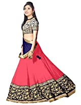 Clickedia Women Georgette Pink embroidered Lehenga With Dupatta and Blouse piece
