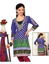 Triveni Blue Cotton Printed Salwar Kameez Tsrjinsk102