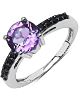 1.40CTW Genuine Amethyst & Black Spinel .925 Sterling Silver Solitaire Ring