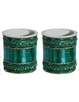DollsofIndia Two Sets of Stone Studded Dark Cyan Bangles - Metal - Blue