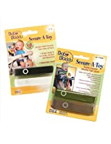 Baby Buddy 4 Count Secure-A-Toy Straps - Black/White/Tan/Olive