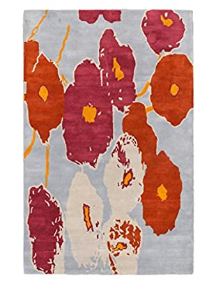 Handmade Luna Rug, Dark Orange/Pale Blue, 5' x 8'