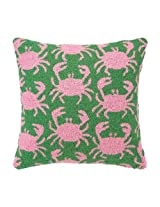 CRAB SHACK GREEN HOOK PILLOW 18X18 POLY FILLED 100% WOOL & COTTON