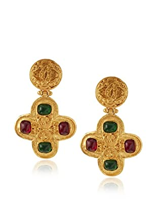 CHANEL Large Gripoix Cross Earrings