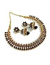 Divinique Jewelry Gorgeous Black Copper Polki necklace set for Women