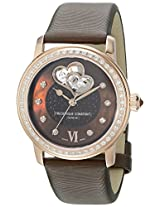 Frederique Constant Double Heart Beat Stainless Steel Plated Rose Gold Watch for Women - Diamond Swiss Frederique Constant Automatic Watch with Second Hand - Brown Leather Strap Ladies Self Winding Watch FC-310CDHB2PD4