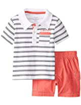Calvin Klein Baby-Boys Infant Stripes Polo Top with Cargo Shorts, Multi, 18 M...