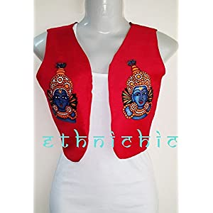EthniChic Hand painted Krishna Jacket/ Waist Coat