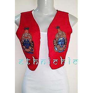EthniChic Hand painted Krishna Jacket/ Waist Coat