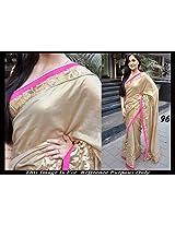 Bollywood Replica Elli Avram Cream Color Party Wedding Wear Saree