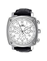 Luxury Ronda Quartz Chronograph Black Leather Band White Dial Luxury Men's Watch