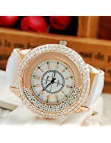 Hot Fashion Women Ladies Leather Band Shinning Rhinestones Quartz Wrist Watch