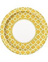 "Quatrefoil Dinner Plates, 8.875"", Yellow, 8 Count"