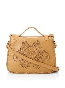 Isabella Fiore Women's Carley Floral Appliqué Saddle Bag (Tan)