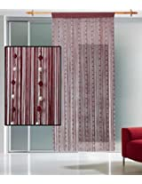 Tophome Maroon Crystal & Pearl Beads String Curtain