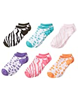 Maidenform Big Girls' Animal-Print No-Show Socks (Pack of Six Pairs)