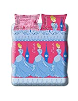 Cinderella Blue and Pink Double Bed Sheet Set from Disney