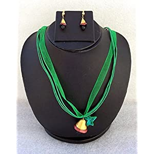 Anikalan Designs Christmas Bell Pendant with earrings Terracotta Necklace Set