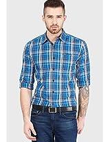 Blue Check Slim Fit Casual Shirt Wrangler