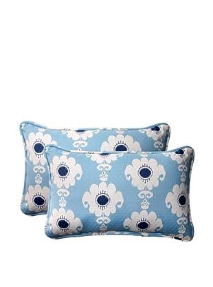 Set of 2 Outdoor Rise-n-Shine Pool Rectangle Corded Toss Pillows (Navy/Aqua/Cream)