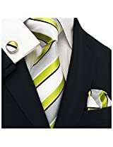"Landisun 305 Stripes Mens Silk Tie Set: Tie+Hanky+Cufflinks Light Green White, 3.25""Wx59""L"