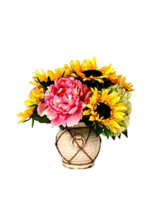 Creative Displays Pink & Yellow Peony with Sunflower in Rope Pot