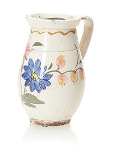 Zingaro Ceramic Pitcher Small - Tall Cream with Blue Flowers